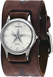 Nemesis #BBFST355S Women's Brown Wide Cuff Leather Embossed Star Icon Band Watch