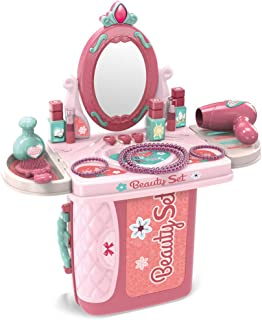 SameTech Kids Pretend Play Beauty Salon Fashion Play Makeup kit and Cosmetic Toy Set with Hairdryer, Mirror & Hair Styling Accessories with a Beauty Suitcase for Little Girls