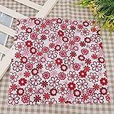 25 * 25 cm / 9.8 * 9.8 in, 50 * 50 cm / 19.7 * 19.7 in Red Flower Patchwork Tela de algodón Patchwork con una densidad más alta que la mayoría de las otras telas sintéticas para manualidades(50*50cm)