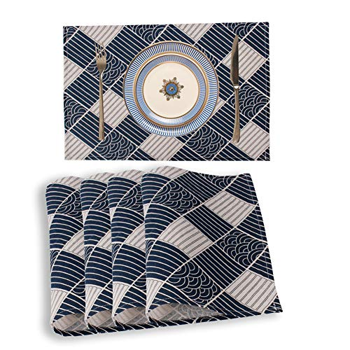 Placemats Set of 4 Placemats for Dining Table 4-PCS Cotton Linen Washable Place Mats 18''12'' Navy Blue-Beige Pattern Table Mats