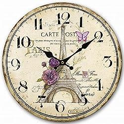 Lovely Paris 12 Wall Clock, Eruner Family Decoration French Country 12-Inch Wood Clock PaintedParis Carte Post Retro Style(Paris, M4)