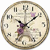 Lovely Paris 12' Wall Clock, Eruner Family Decoration French Country 12-Inch Wood Clock PaintedParis Carte Post Retro Style(Paris, M4)
