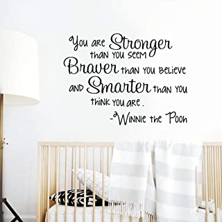 Winnie The Pooh Wall Decal - Braver Stronger Smarter - Quote Wall Sticker Wall Art Nursery Decor Kids Baby Room Bedroom