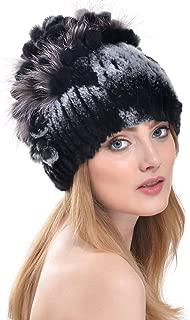 Rabbit Fur Hat - Winter Fashion Knit Hats Women Real Fur Warm Skullies Beanie