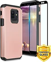TJS Case Compatible for Samsung Galaxy A6 2018, with [Tempered Glass Screen Protector] Dual Layer Hybrid Shockproof Drop Protection Impact Rugged Phone Case Armor Cover (Rose Gold)
