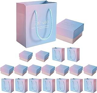 ギフトボックス ジュエリー用 ボックス10個 手提げ紙袋10枚 ラッピングボックス 紙箱 アクセサリー ギフト箱 ネックレス ブレスレット 高級感 厚手 丈夫 おしゃれ 贈り物 (ピンク ボックス10个+紙袋10枚)