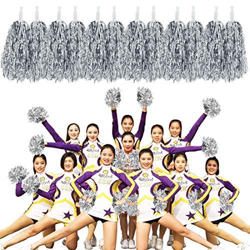 MOAMUN 24 STÜCKE Cheeleading Pom Poms für Cherring Squad, Kunststoff Metallic Cheerleader Folie Pompons mit Griff für Sport Team Spirit Cherring Party Dance Dekoration (Silber)