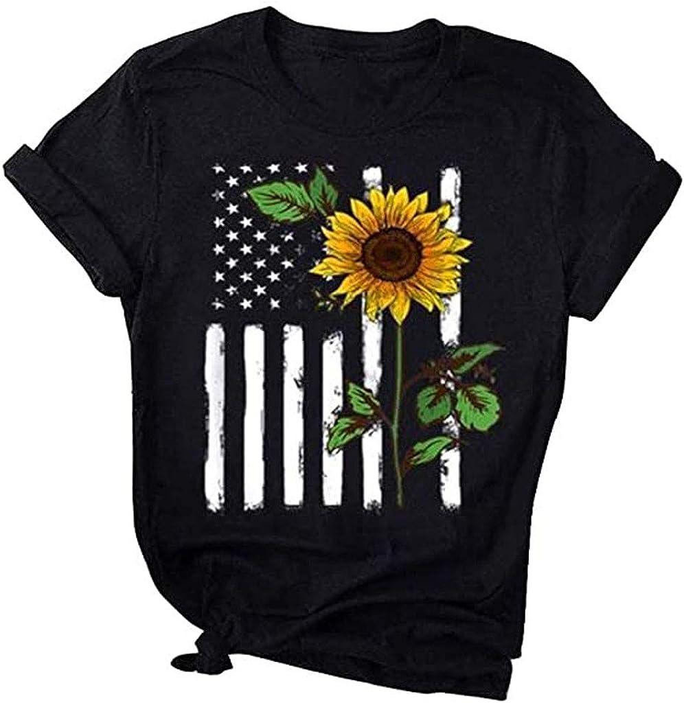 Graphic T Shirt for Women Dandelion Make A Wish Tees Summer Casual Short Sleeve Cute Sunflower Baseball Printed Tops