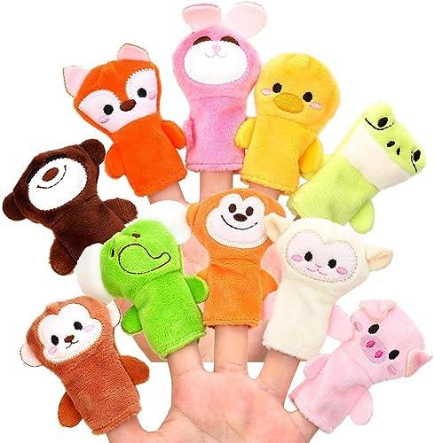 Xrten Lot de 10 marionnettes à Doigts - Animal Poupée À La Main En Peluche