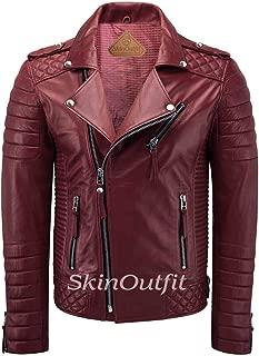 SKINOUTFIT Men's Leather Jackets Motorcycle Biker Genuine Lambskin Leather Jacket Dark Red