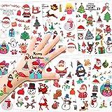 HOWAF Noël Tatouages Temporaires pour Enfants, Bonhomme de Neige Père Noël Tatouages ephémères Enfant pour Filles garçons Enfants Sac De Noël Anniversaire Cadeau Pinata, 12 feuilles