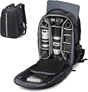 Abonnyc Camera Backpack Fit 2 Pro-Sized DSLR/SLR Camera Bag, 3-6 Lenses, 15.6 inch Laptop for Outdoor Travel with Rain Cov...