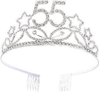 55th Birthday Crown Crystal Star Queen Tiara Happy Birthday Hair Accessories for Women (Silver)