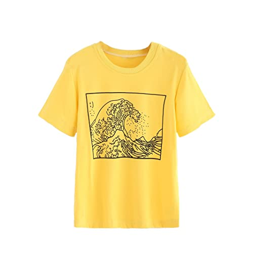 2c4749371 Romwe Women's Short Sleeve Top Casual The Great Wave Off Kanagawa Graphic  Print Tee Shirt