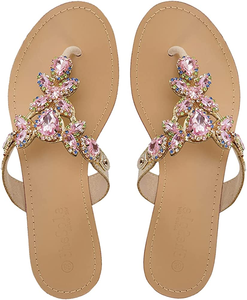 SheSole Womens Sparkly Jeweled Flip Flop Sandals Summer Beach Flat Wedding Shoes