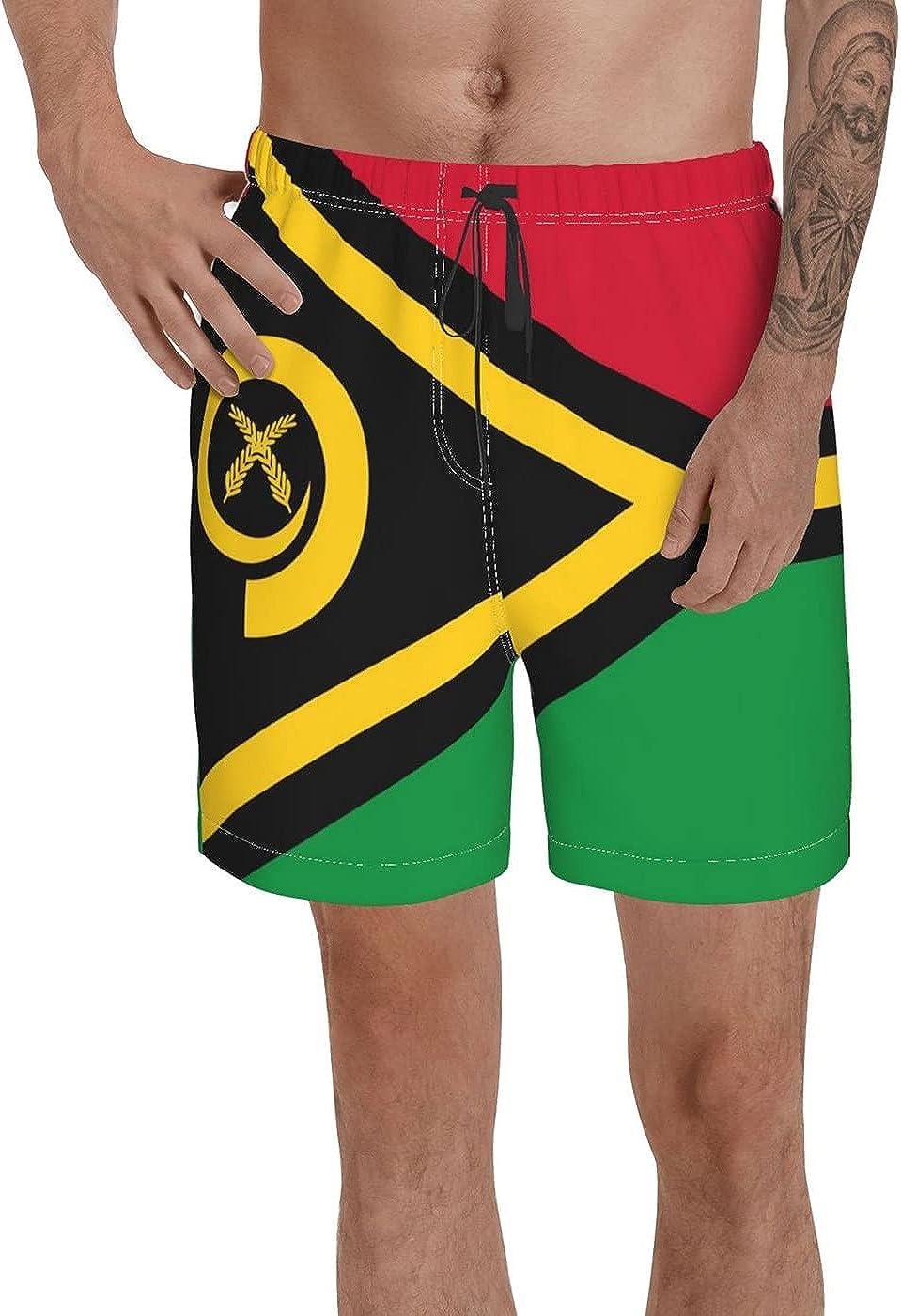 Count Vanuatu Flag Men's 3D Printed Funny Summer Quick Dry Swim Short Board Shorts with