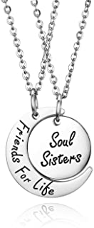 Set of 2 Friends for Like/Soul Sisters Gifts Soul Sisters Friends for Life Matching Stainless Keychain Jewelry Inspiration...