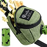 BRIVILAS Dog Poop Bag Holder for Any Dog Leash&Poopbag,Large Waste Bags Dispenser Belt Attachment with Doggie Treat Training Pouch Ideal Gift for Pet Owners (Green)