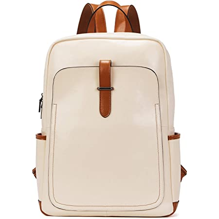 BOSTANTEN Leather Laptop Backpack Purse Casual College Casual Bags Daypack Beige-White