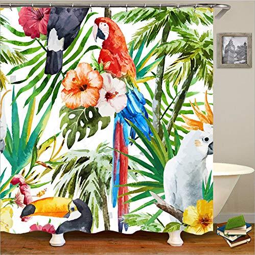 AZZXZONa Polyester 100prozent Stoff Bad Gardinen 3D Papagei Tinte Malerei Wasserdicht Mehltau Hotel Kinder Balkon Partition Decor Duschvorhang 180X200 cm 12 Haken