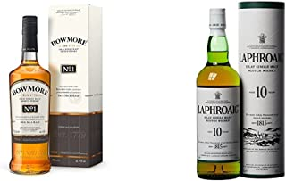 Bowmore No. 1 Single Malt  Laphroaig Islay Single Malt Scotch Whisky 10 Jahre 2 x 0.7 l