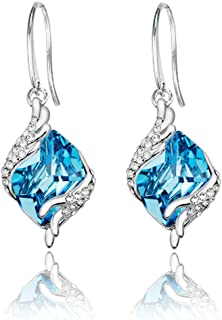 6f10e8f059a70b Yellow Chimes Crystals from Swarovski Angel Guardian Blue Crystal Earrings  for Women & Girls