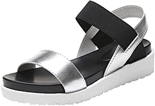 """Girllike """"Muffin Thick Bottom Sandals Open Toe Ankle Strap Roman Style Flat Platform Wedges Shoes"""