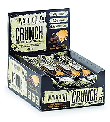 Warrior Crunch High Protein Low Carb Bar, 64 g, Pack of 12 by KQYAN