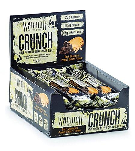 Warrior CRUNCH High Protein Bars - 20g Protein Each - Dark Chocolate Peanut Butter - Pack of 12 x 64g