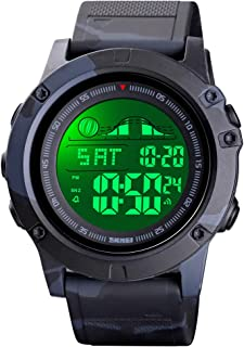 Venhoo Boys Watch Digital Sports Waterproof EL-Light LED Screen Large Face Casual Watches with Dual-Time Model, Countdown, Alarm, Stopwatch, Luminous Fashion Wrist Watches for Teenager Kids Boys Girls