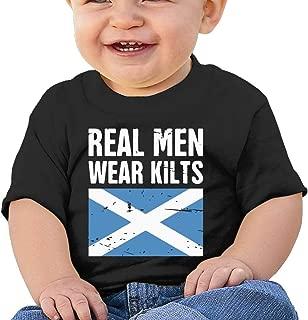 Scottish Flag Real Men Wear Kilts Baby Girls Tee Shirt Black