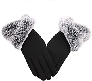 New Womens Plus Plush Fluffy Touch Screen Phone Lined Thick Windproof Gloves