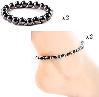 2pcs Black Magnetic Hematite Therapy Anklet Bracelets, 2pcs Women Magnetic Therapy Bracelet Magnetite Bracelet for Pain Relief (Black)