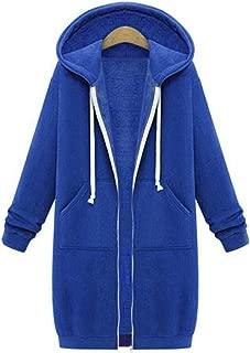 Sexyshine Women's Casual Loose Zip up Long Hoodies Sweatshirt Outerwear Jacket Tunic Coat with Pockets
