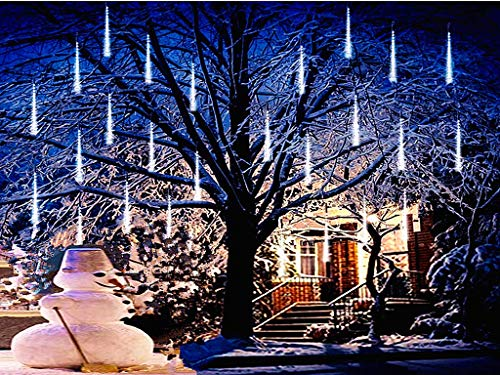 Falling Rain Lights,Anlising Led Meteor Shower Rain Lights 8 Tubes 136 LED(11.8 inch/Tube) Icicle Rain drop Lights Christmas Lights for Christmas Tree Decoration Wedding Party Holiday (White)