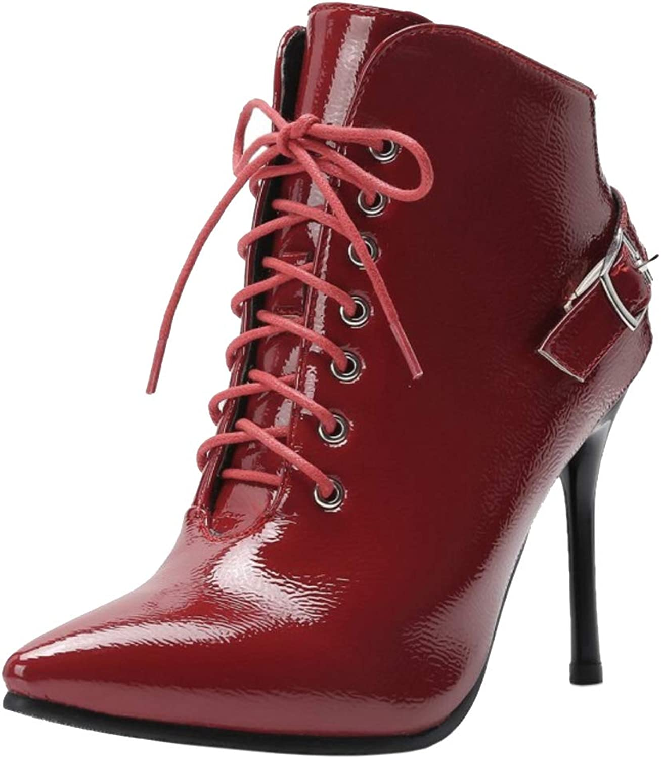 TAOFFEN Women Stylish Lace Up Boots Pointed Toe