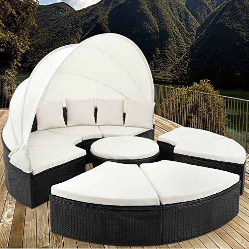 Deuba XXL Poly Rattan Sonneninsel 230 cm faltbares Dach 7cm Auflagen 4 Kissen Gartenliege Gartenmöbel Outdoor Set Schwarz - 2