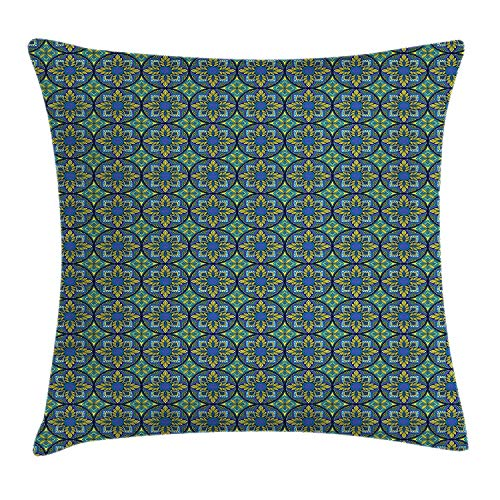 JIMSTRES Vintage Throw Pillow Cushion Cover, Western Culture Inspired Artistic Mosaic Floral Tiles Pattern, Decorative Square Accent Pillow Case, Cobalt Blue Apple Green Teal 16x16 inches