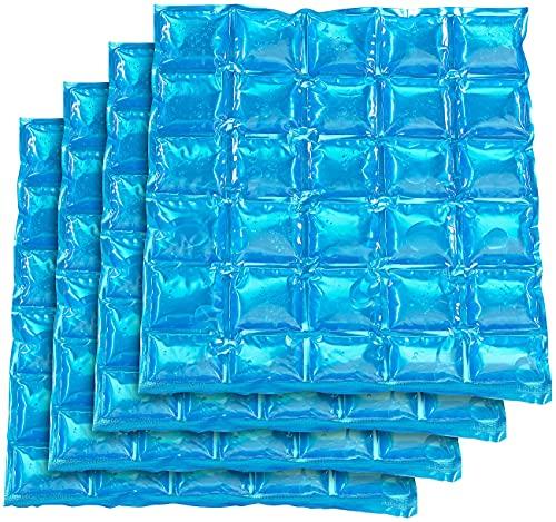 PEARL Coldpack: 4er-Set flexible Kühlkissen mit Kühlzellen, wiederverwendbar, 30x25 cm (Kühlkompressen Knie)