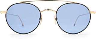 Luxury Fashion | Thom Browne Mens TB101DTBLKGLD Gold Sunglasses | Fall Winter 19