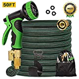 CherishGard 50ft Garden Hose, Upgraded Expandable Lightweight Weaving Water Hose with 9 Function Spray Nozzle, Triple Latex Core with 3/4' Solid Brass, Flexible Hose for All Outdoor Watering
