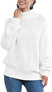 Womens Turtleneck Sweater Batwing Long Sleeve Solid Loose Knit Jumper Pullover