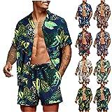 feftops Traje Hawaiano Hombre Camisas + Pantalones Cortos Conjuntos Verano Informal Estampado Conjunto Playa de 2 Piezas Camisa Informal De Manga Corta Abotonada