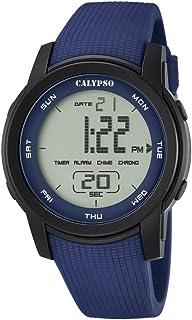 Calypso–Reloj Digital Unisex con LCD Pantalla Digital Esfera Azul y Correa de plástico k5698/2