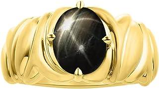 Anillo solitario de zafiro con estrella negra en oro amarillo de 14 quilates, anillo de piedra natal de color