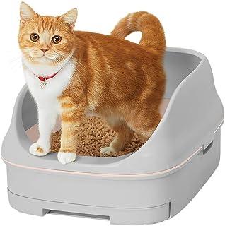 【Amazon.co.jp限定】 花王 猫用トイレ本体 ニャンとも清潔トイレセット [約1か月分チップ・シート付] オープンタイプ ライトグレー&ナチュラル 猫用