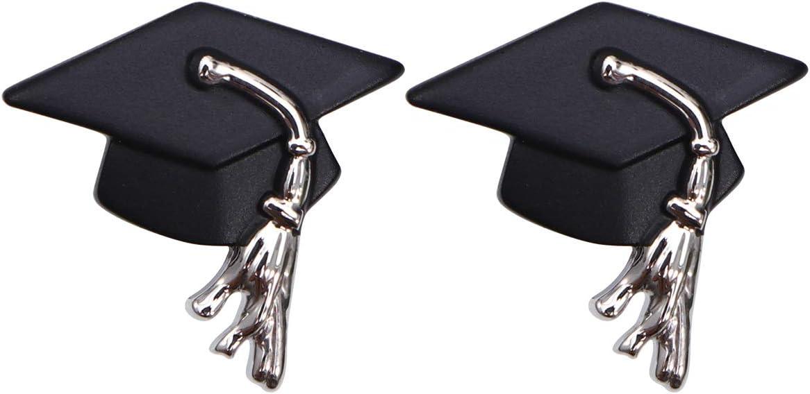 Amosfun Black Doctor Hat Shirt Sleeve Decor Cufflinks Replacement Cuff Studs Classic Graduation Cuff Links Party Favors