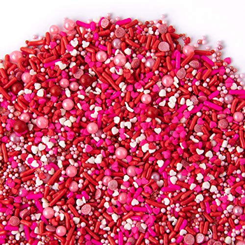 Valentines Sprinkles, XOXO Sprinklefetti 8oz, Red Pink White Mini Hearts, Sprinkles for Baking, Gluten Free