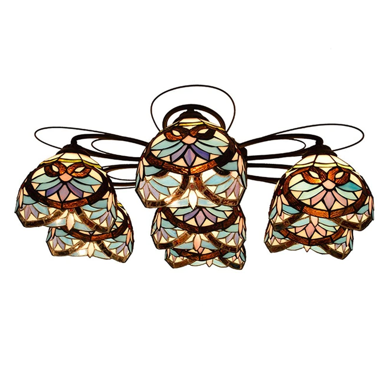 矛盾リッチだますHTYJY ティファニー7マルチヘッド天井のランプブルーバロックランプガラスリビングルームダイニングルームベッドルームリビングルーム Tiffany style