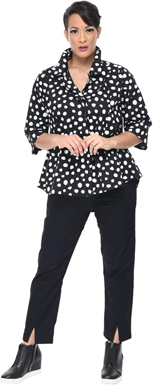 Alice Button Down Shirt in Black Doodle Dot by Snapdragon & Twig